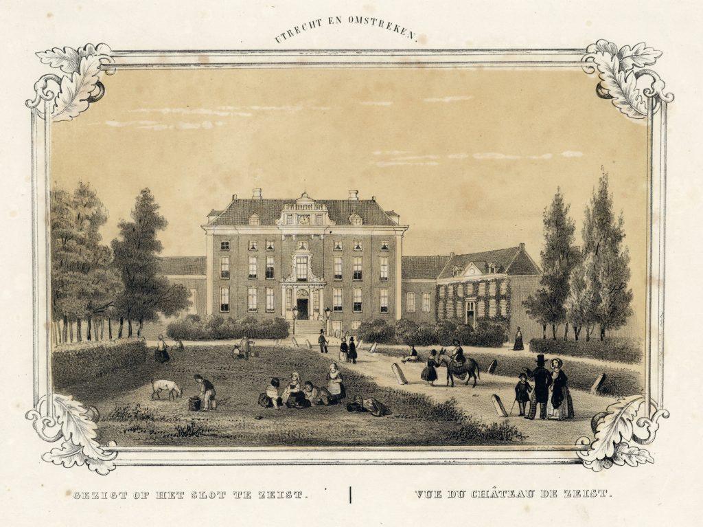 Gezicht op voorgevel Slot - 1850